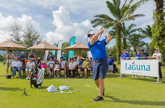 Nick Faldo conducting a golf clinic during his visit to Laguna Phuket.