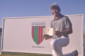 Ira Alido celebrates his victory in the Faldo Series Philippines Champion-ship.