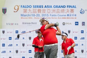 Jan Philippe De Claro teeing-off at the ninth Faldo Series Asia Grand Final. He is expected to vie for top honours with Rupert Zaragosa in this week's Faldo Series Philippines Championship.