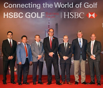 HE Aref Al Awani, Kyi Hla Han, Tim Finchem, Giles Morgan, Keith Pelley, Martin Slumbers and Guy Kinnings following the HSBC Golf sponsorship renewal announcement. Picture by Andrew Redington/Getty Images