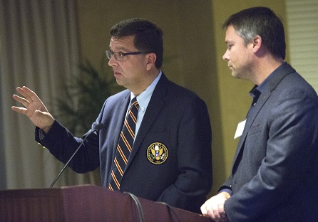 The USGA's Rand Jerris [left] and Brian Horgan, Professor in the UMN Department of Horticultural Science and Extension.