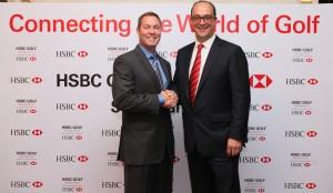 LPGA Commissioner Mike Whan with HSBC's Giles Morgan.