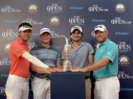 Open Championship Qualifiers Phachara Khongwatmai, Jamie Donaldson, Clement Sordet and Lee Westwood. Picture by Paul Lakatos/Asian Tour.