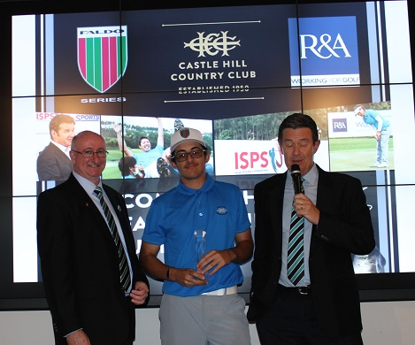 Sam Nashaar at the trophy presentation with Castle Hill Country Club President David Geraghty [left] and Club Captain Lindsay Vernon [right].