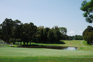 The 18th hole of the Eden Course at Hong Kong Golf Club.