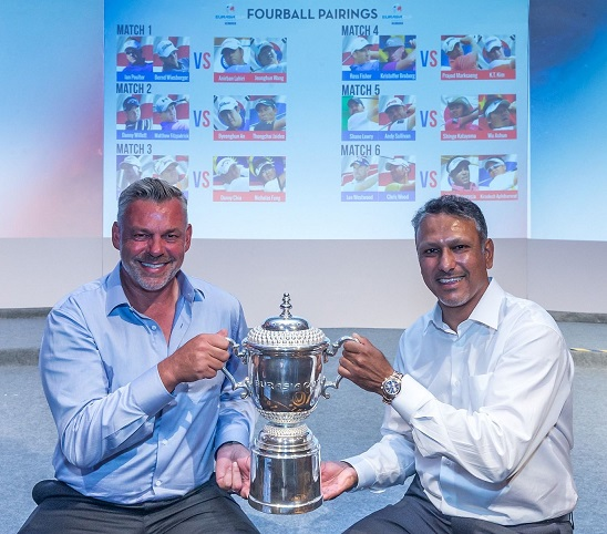 Darren Clarke and Jeev Milkha Singh at the draw for the Fourballs. Picture: Mark Dadswell/Asian Tour