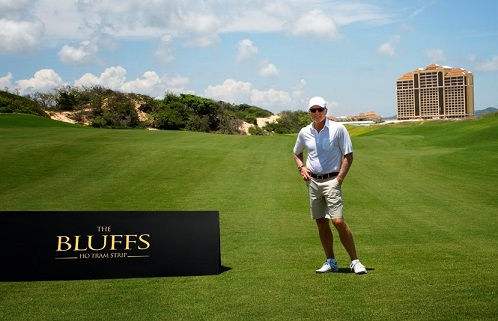 Greg Norman on site at The Bluffs.