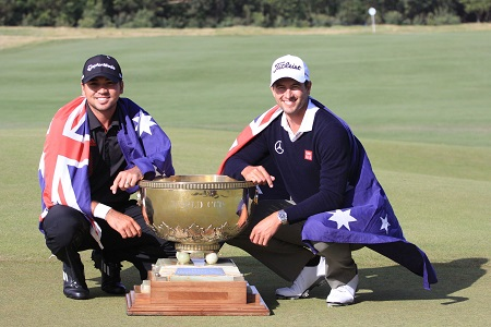 Jason Day and Adam Scott following their win World Cup win in 2013.