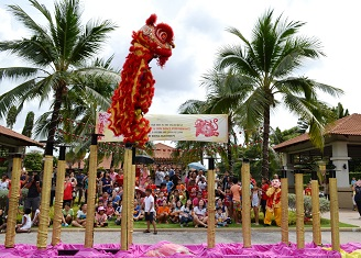The lion dance performance drew large crowds.