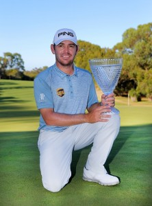 Louis Oosthuizen with the ISPS Handa Perth International trophy. Picture by SMP Images/IMG Media/PGA Media