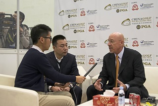 Chuck Greif being interviewed by Guangdong Golf Channel at the China Golf Show. Next to Greif is his interpreter, Jacobsen's Andy Liu.
