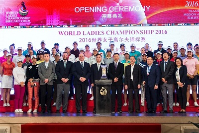 Players and officials at the opening ceremony for the World Ladies Championship.