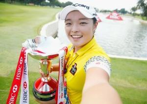 Jang Ha-na celebrates her victory at Sentosa.