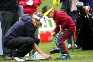 Nicole Garcia with one of the attendees at the Junior Clinic.