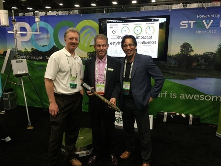 Scott South, CEO of Stevens Water Monitoring Systems, with Tony Taylor and Carmen Magro.