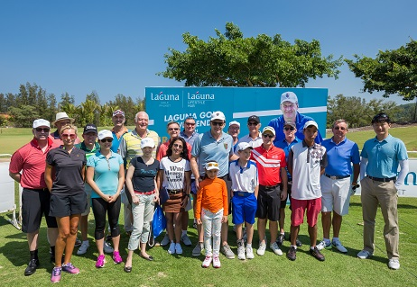 Sir Nick Faldo with guests at the golf clinic he staged at Laguna Phuket.