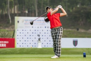 Yumi Kudo teeing-off at last year's Faldo Series Asia Grand Final. Picture by Power Sport Images for Faldo Series.
