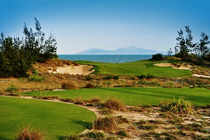 The par-three 16th  at the Greg Norman-designed Danang Golf Club. Picture by Claire Wiley