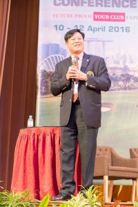 Peter Goh addresses delegates at the 11th Asian Club Managers Conference. Picture by Joel Chan.