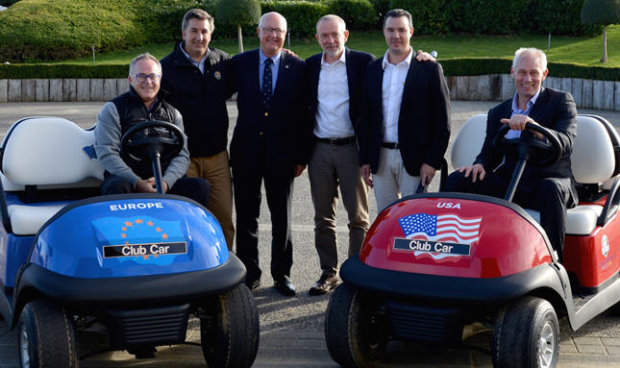 Le Golf National General Manager Paul Armitage [left] with Ricardo Muelas, Regional Sales Manager at Club Car, Jean Lou Charon, President of the French Golf Federation, Marco Natale, Vice President of Club Car in EMEA, Nicolas Le Glas, Sales Manager at ORA Véhicules Electriques and Kevin Hart, Club Car Sales Director Golf in EMEA.