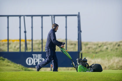 John Deere 220SL walk behind mower, in preparation for July's Open Championship at Royal Troon.