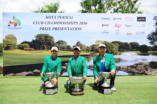 Ladies champion Chong Yong, Men's champion William Cheah and Senior champion Khoo Gee Seng celebrate their successes at Kota Permai.