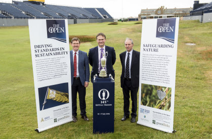 GEO's Jonathan Smith with The R&A's Johnnie-Cole Hamilton and David Brown, Environmental Advisor at Royal Troon Golf Club. Picture by The R&A