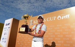 Chan Shih-chang of with the King's Cup trophy. Picture by Paul Lakatos/Asian Tour.