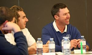 Mark Harkness and Mentor Justin Bradbury  share a light-hearted moment