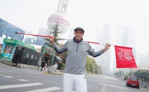 Rickie Fowler during a photo shoot in the Pudong area of Shanghai prior to the start of last year's WGC - HSBC Champions. Picture by Scott Halleran/Getty Images