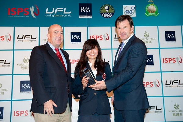 Tiffany Chan receives her prize from Sir Nick Faldo and The R&A's Dominic Wall at the 2012 Faldo Series Asia Grand Final,