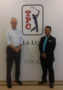 AGIF CEO Eric Lynge with TPC Kuala Lumpur course superintendent Mohd Nizam Othman.