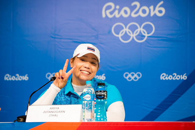 Ariya in relaxed mood at her post-round press conference in Rio.