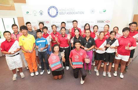 Kho Tai-chi (front right) and Queenie Lai (front left) with fellow winners from the Hong Kong Junior Open. Picture by HK Golfer