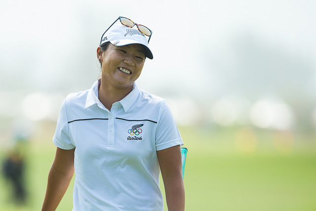 Lydia Ko had cause to smile after snaring the first hole-in-one of her career during the third round in Rio. Picture by IGF