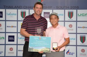 Napat is congratulated on his success by Paul Wilson, Laguna Golf Assistant Vice President/Group Golf Director.