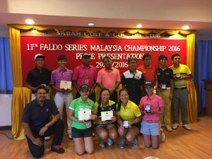 Prize winners pose with officials following the 2016 Faldo Series Malaysia Champion-ship.
