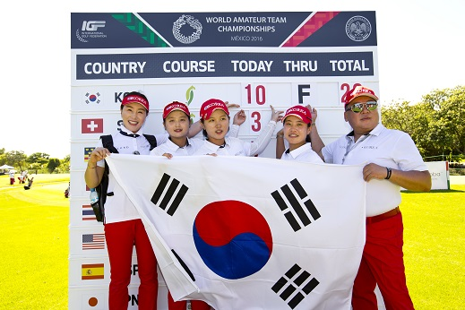 The Korean team celebrate their success in Mexico. Picture by USGA/Steven Gibbons