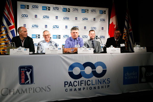Officials at a press conference ahead of this week's Pacific Links Bear Mountain Championship.