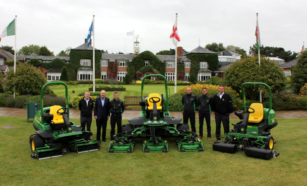 Deere & Company Chairman and CEO Samuel Allen (second left) at The Belfry with (left to right) Brian D'Arcy of John Deere Limited, The Belfry's Angus Macleod and Jamie Brooks, dealer Matt Gilks of Farol Hinckley, Nick Ashman of John Deere Limited and a selection of the new John Deere mowers.