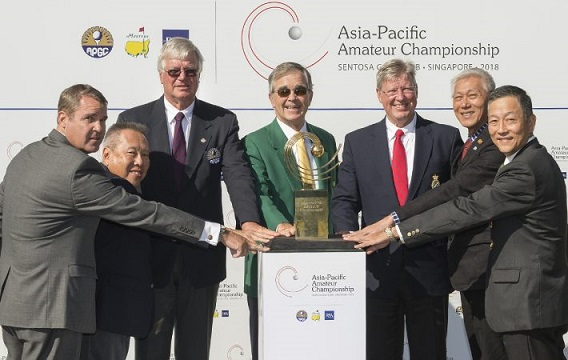 Andy Johnston (far left), Low Teo Ping (second left) and Ross Tan (second right) at the announcement that Sentosa Golf Club will stage the AAC in 2018,