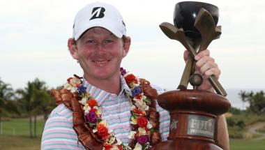 Brandt Snedeker celebrates his victory in Fiji.
