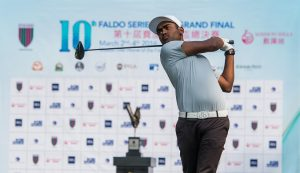 Arjun Prasad teeing-off en route to victory in the 10th Faldo Series Asia Grand Final. Picture by Xaume Olleros.
