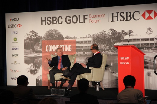 Jack Nicklaus in discussion with Giles Morgan. Picture by HSBC Golf Business Forum.