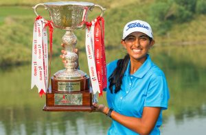 Aditi Ashok with the trophy. Picture by Tristan Jones