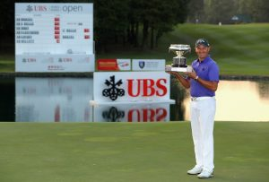 Sam Brazel shows off the UBS Hong Kong Open trophy. Picture by Warren Little/Getty Images