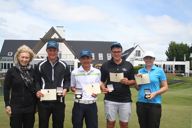 The Canterbury Golf Development Trust's Maryanne Marlow with age-group winners (from left) Jordan Woodall, Hiroki Miya, Oscar Cadenhead and Amelia Garvey.