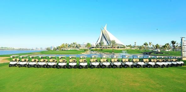 A selection of the E-Z-GO RXV golf cars at Dubai Golf's Dubai Creek Golf & Yacht Club.