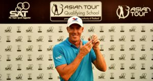 Richard Green with his Asian Tour badge after winning the Asian Tour Qualifying School Final Stage. Picture by Paul Lakatos/Asian Tour.