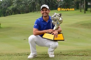 Fabrizio Zanotti shows off the Maybank Championship trophy.